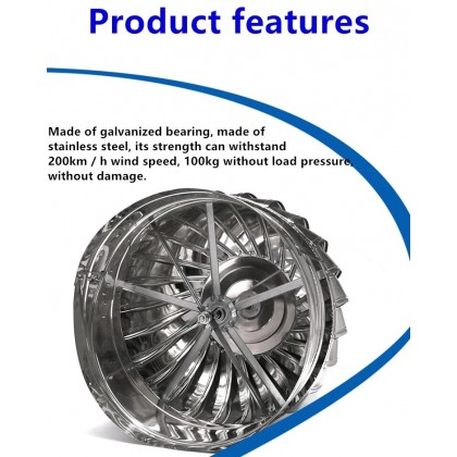 FW1051 US Stainless Steel 304 Wind Turbine Ventilator 24 Inch with Hybrid Boost Bearing + Life Time Warranty (with Installation in PERAK)