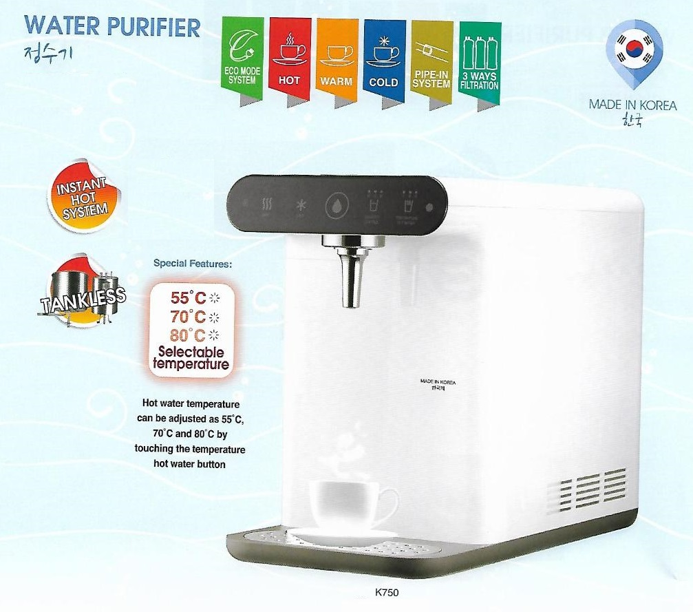 FW1164 Korea Water Filter Dispenser K-750 Eco Mode Instant Heating / Direct Cooling PERLIS